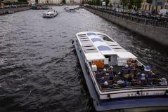 Barcos en el Fontanka Foto de archivo libre de regalías