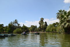 Barcos en el lago, Barcelona Imágenes de archivo libres de regalías