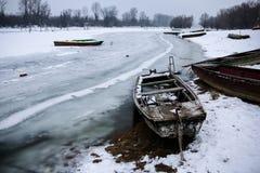Barcos en el lago congelado Imagen de archivo