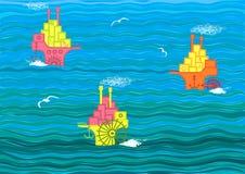 Barcos en el mar Imagen de archivo