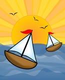 Barcos en el mar soleado, útil como diseño para la cartelera de alquiler de los barcos de los barcos, los viajes de ofrecimiento  Fotos de archivo