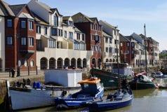 Barcos en el maryport Harnour, Cumbria, Inglaterra Foto de archivo libre de regalías