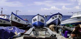 Barcos en el muelle Imágenes de archivo libres de regalías