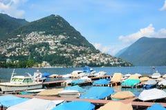 Barcos en el muelle Lugano Fotografía de archivo