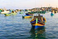 Barcos en el puerto de Marsaxlokk Imagen de archivo