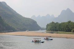 Barcos en el río de Li Fotografía de archivo