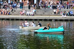 Barcos en el río Dee, Chester Fotos de archivo libres de regalías