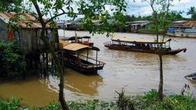 Barcos en el río Mekong Foto de archivo libre de regalías