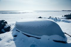 Barcos en invierno Foto de archivo libre de regalías