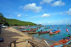 Barcos en Koh Tao Island Fotos de archivo