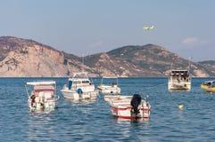 Barcos en la bahía de Laganas Fotografía de archivo libre de regalías