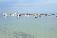 Barcos en la isla del ibiza Imágenes de archivo libres de regalías
