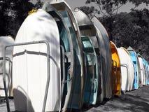 Barcos en los estantes aislados con color Imagen de archivo