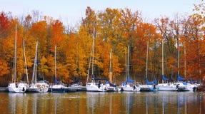 Barcos en otoño Foto de archivo libre de regalías