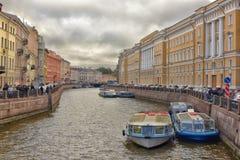 Barcos en St Petersburg Foto de archivo libre de regalías