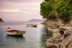Barcos en un golfo Fotografía de archivo libre de regalías