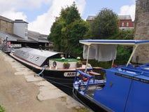 Barcos estrechos del canal en la celebración de 200 años del canal de Leeds Liverpool en Burnley Lancashire Fotografía de archivo libre de regalías