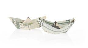 Barcos feitos com dinheiro imagem de stock royalty free