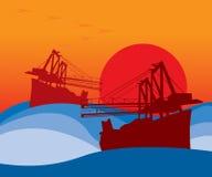 Barcos hacia fuera en el mar ilustración del vector
