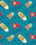 Barcos, iate no mar em um cruzeiro Teste padrão sem emenda Imagens de Stock Royalty Free