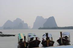 Barcos longos tailandeses Fotografia de Stock Royalty Free