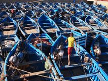 Barcos marroquíes azules fotografía de archivo