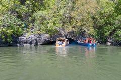 Barcos na excursão dos manguezais fotografia de stock royalty free