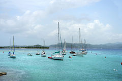 Barcos na ilha de St John Fotografia de Stock Royalty Free