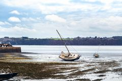 Barcos na maré baixa Foto de Stock Royalty Free