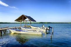 Barcos na margem em Rio Lagartos imagem de stock