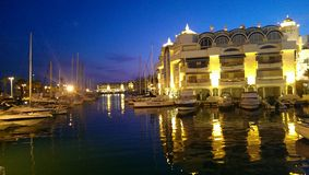 Barcos na noite Fotografia de Stock Royalty Free