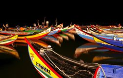 Barcos na noite Imagens de Stock