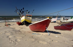 Barcos na praia Foto de Stock