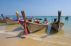 Barcos na praia do Ao Nang Foto de Stock