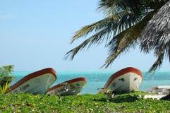 Barcos na praia em México Foto de Stock
