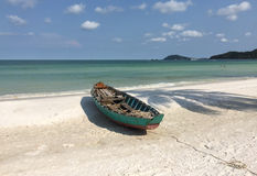 Barcos na praia na ilha de Phu Quoc Fotografia de Stock Royalty Free