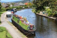 Barcos no canal de Lancaster no banco de Hest, Lancashire Fotos de Stock Royalty Free