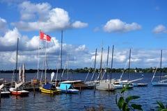 Barcos no lago hamburg Imagens de Stock