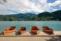 Barcos no lago sangrado Fotografia de Stock Royalty Free