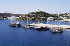 Barcos no porto de Bodrum Fotografia de Stock