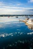 Barcos no porto de Boothbay Foto de Stock Royalty Free