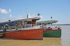 Barcos no rio de Irrawaddy fotografia de stock royalty free