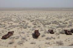 Barcos oxidados do mar de Aral Fotos de Stock Royalty Free