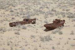 Barcos oxidados do mar de Aral Fotos de Stock