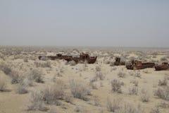 Barcos oxidados do mar de Aral Imagens de Stock Royalty Free