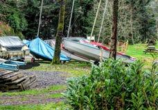Barcos pelo lago Imagens de Stock