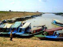 Barcos pelo Mekong Fotografia de Stock Royalty Free
