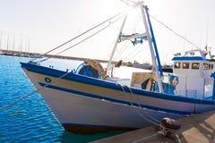 Barcos pesqueros de Javea Xabia en puerto en Alicante España Imagen de archivo