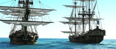 Barcos piratas colocados cerca de uno a hacia fuera al mar stock de ilustración