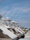Barcos profundos de la carta de la pesca en mar Fotografía de archivo